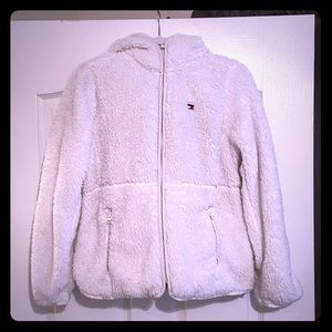 SHERPA TOMMY HILFIGER HOODED ZIP UP JACKET!